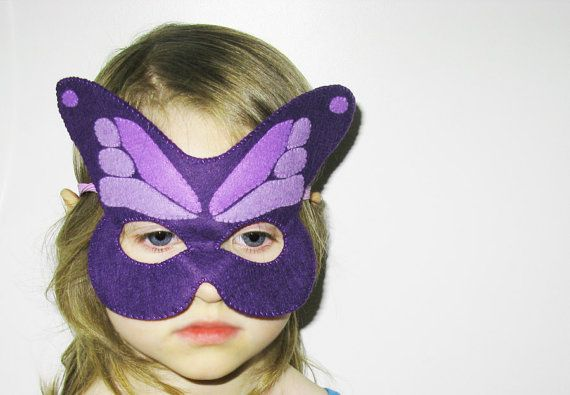 Butterfly felt Mask  Lilac Lavender Violet  kids by FeltFamily, $19.00