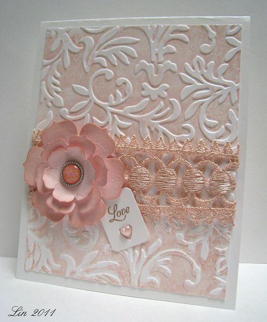 Texture technique - ink flat side of embossing folder before embossing - heartshugsandflowers.blogspot.com