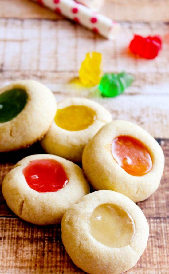 Gummy Bear Thumbprint Cookies | The cookies are amazing – crumbly and buttery and perfect goodness.