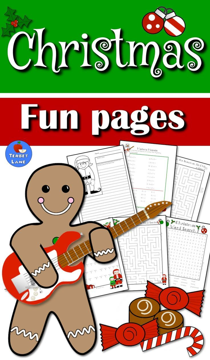 Fun Christmas activities! Includes mazes, mystery messages, word searches, creative writing, math practice, coloring pages and more! #christmas #christmasfun