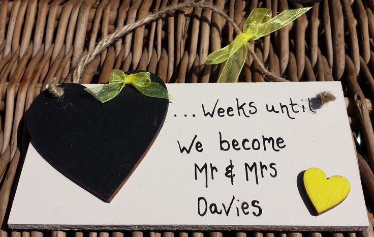 Wedding Countdown 'Yellow Heart' Chalkboard Plaque