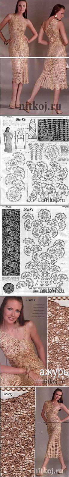 """Golden crochet dress """"thread - knitted things for your home, crochet, knitting, crochet scheme"""