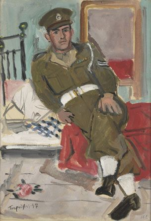 Yannis Tsarouchis / Policeman sitting on a bed and a rose on the floor  Athens, 1947-48  Oil on cloth, 31.5 x 24.7 cm