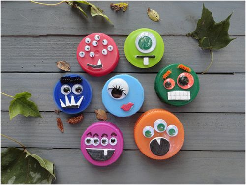 Great #EarthDay #craft idea - make Monster Magnets out of old plastic lids!