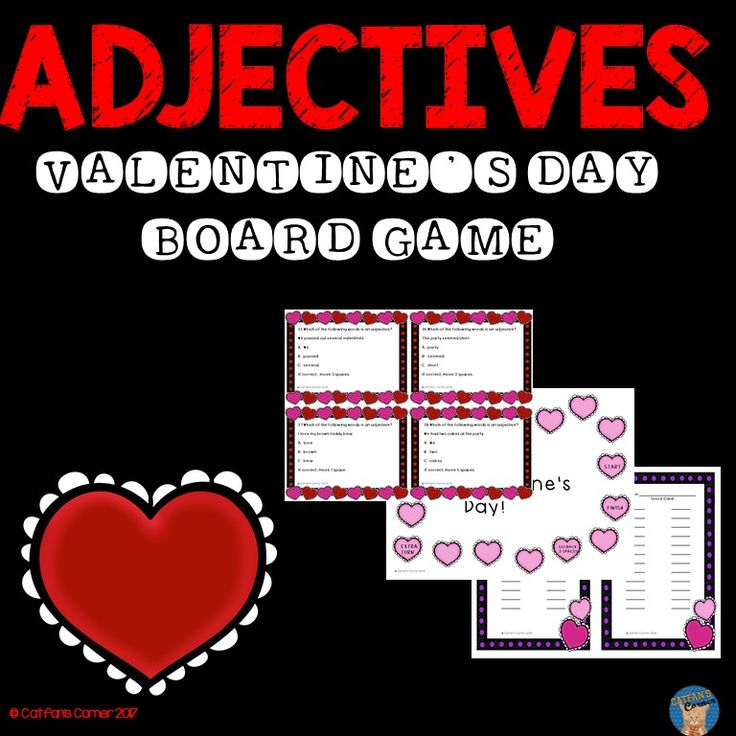 This Valentine's Day game is perfect for practicing adjectives! It is a great addition to a literacy center! It includes:  -Cover Sheet (to be glued on the front of a large envelope) -Game Board -Rules -36 Game Cards -Score Cards -Answer Key
