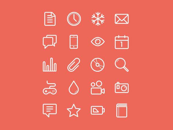 Flat Stroke Line Icons Set Vol1