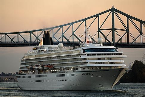 Cruise ship in St. Lawrence River, with Pont Jacques-Cartier, #Montreal  Photo by David Sanger