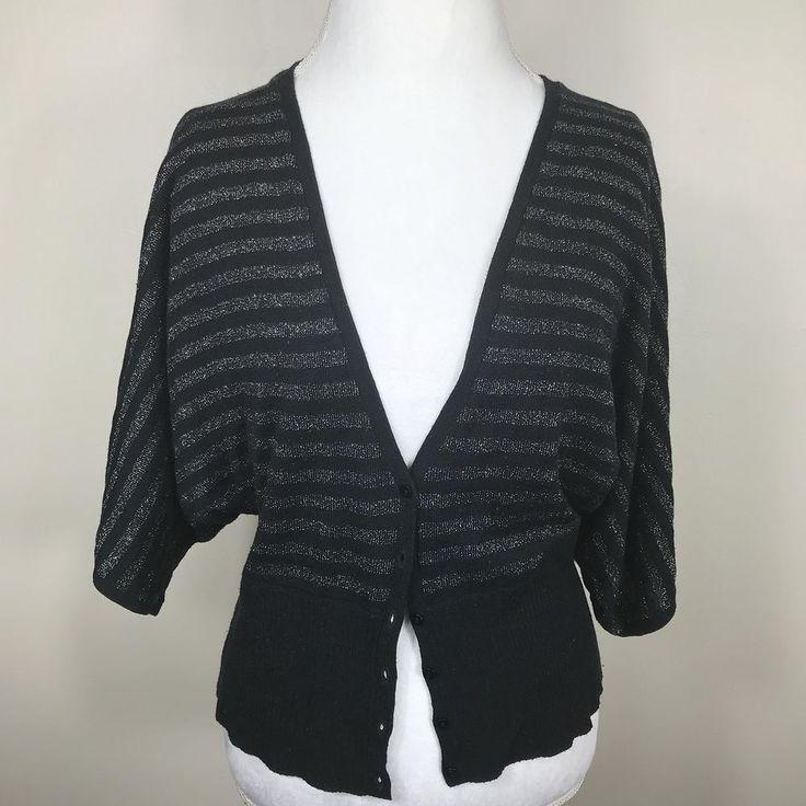 Ladies Torrid Black and Silver Cardigan Sweater Elbow Sleeve Acrylic, Polyester   | eBay