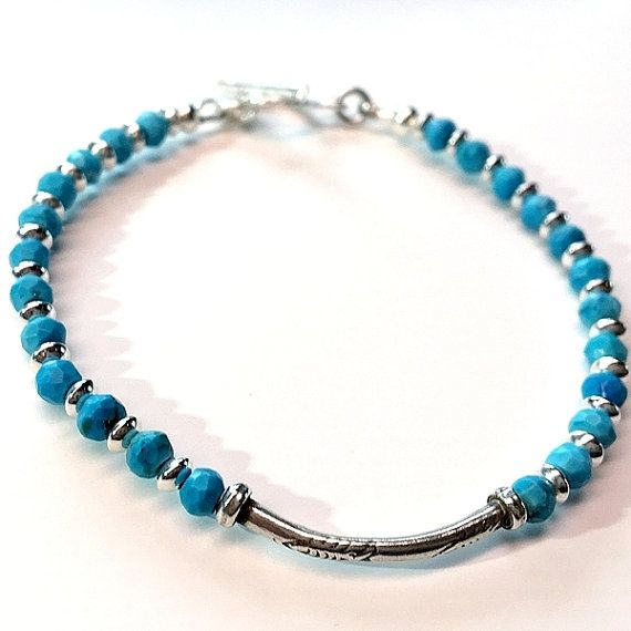 Sterling silver turquoise bracelet. karen hill tribe by Emmalishop
