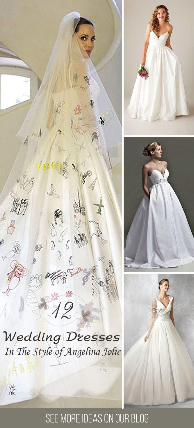 Angelina Jolie Wedding Dress And It's Twins ❤ We found some similar wedding dresses for brides who want to emulate Angelina Jolie's wedding dress. See more:  http://www.weddingforward.com/angelina-jolie-wedding-dress/ #wedding #dresses #angelinajolie