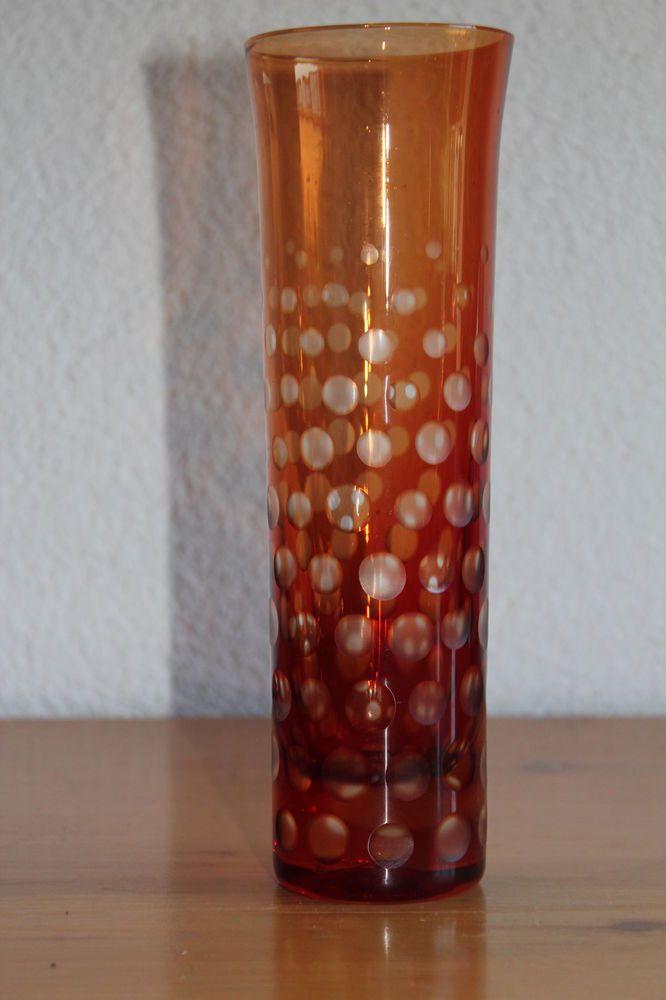 Vintage GDR DDR Glas Vase Harzkristall  Fritz Wondrejz 60er 70er Jahre Kristall