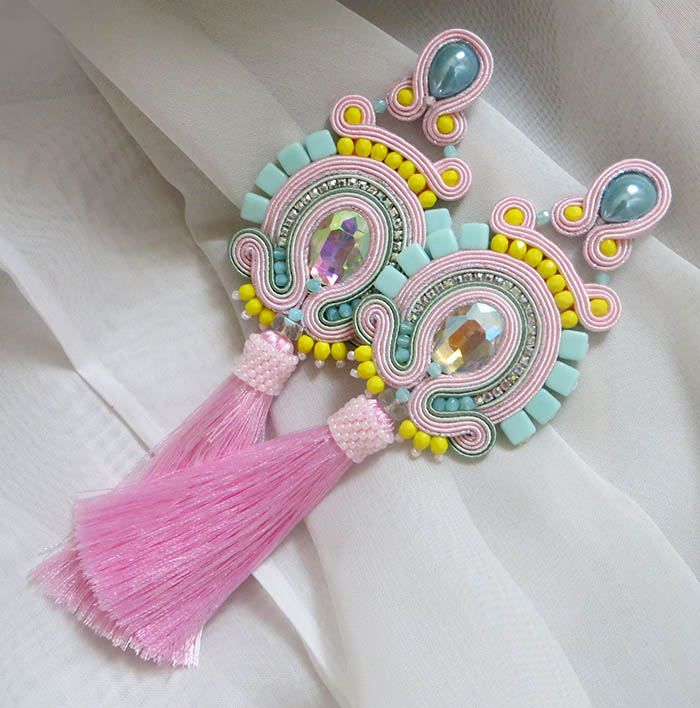 Excited to share the latest addition to my #etsy shop: Pastel summer earrings Bright earrings summer long pink earrings gift for sister summer jewelry for women gift boho earrings fringe earrings http://etsy.me/2EC6F0m #jewelry #earrings #pink #soutache