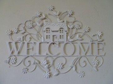 """Clayre & Eef welkomstbord """"Welcome"""" huis en bloemen"""