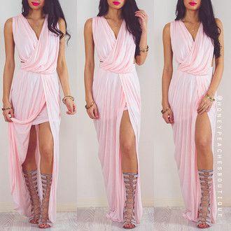 pêssegos mel vestido rosa claro vestido de baile vestido de noite rosa vestido longo vestido maxi vestido grecian sexy vestido formal estilo grego vestido rosa