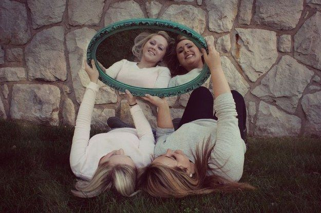 Stare back at yourselves in wonderment…. | 37 Impossibly Fun Best Friend Photography Ideas