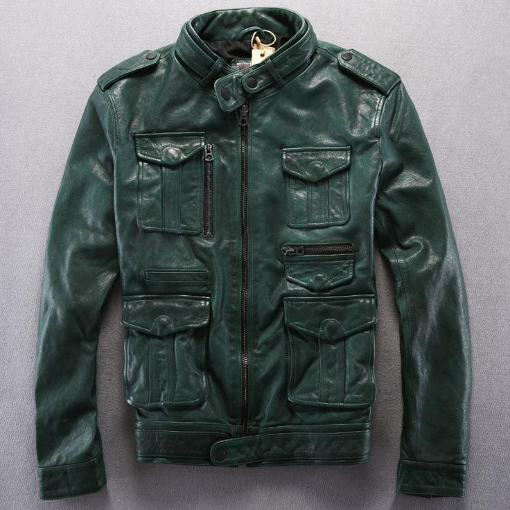 Новый козловых кожаные куртки M65 съемки куртка воротник стойка тонкий короткий параграф мульти-карман мужские мотоцикл кожаные куртки