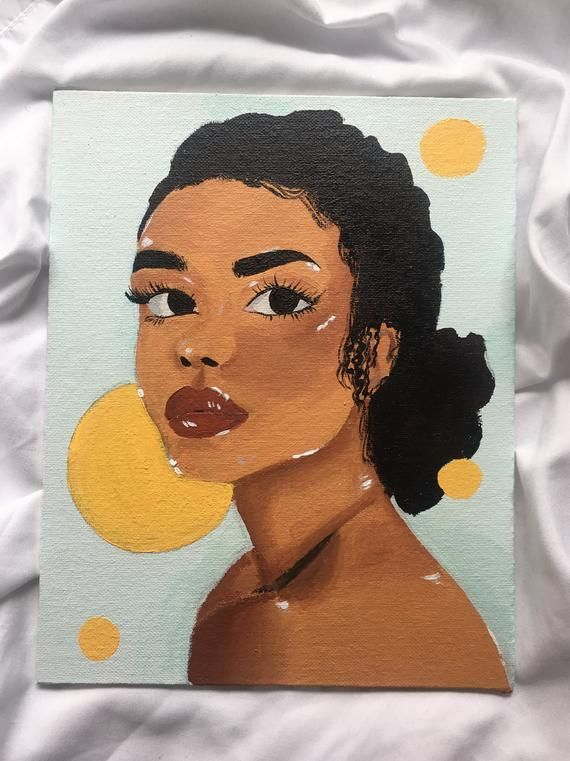 Black Woman Curly Hair Portrait Acrylic Painting