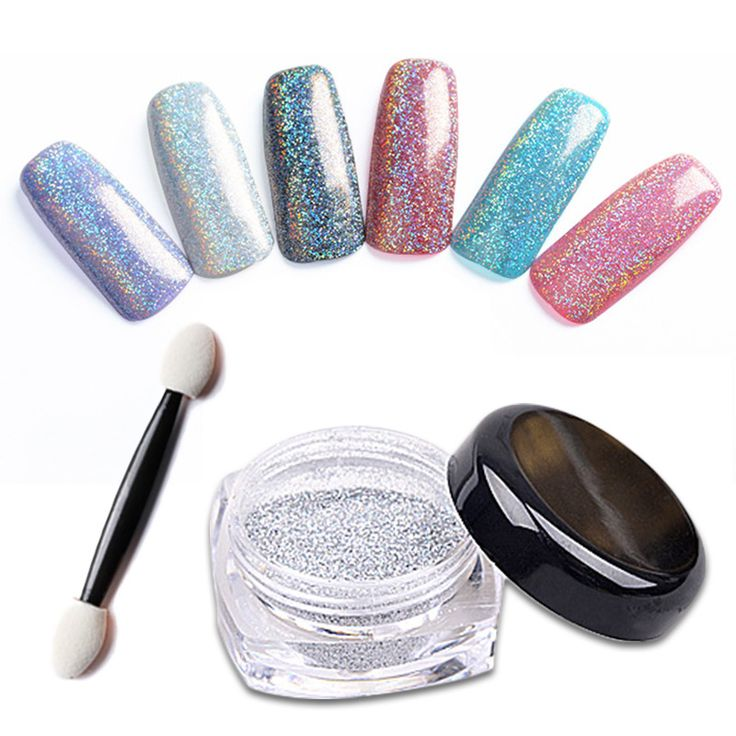 1g/Box Laser Silver Holographic Powder Dust for UV Nail Gel Polish Laser Silver Glitter Acrylic Nails Art Glitter Tips