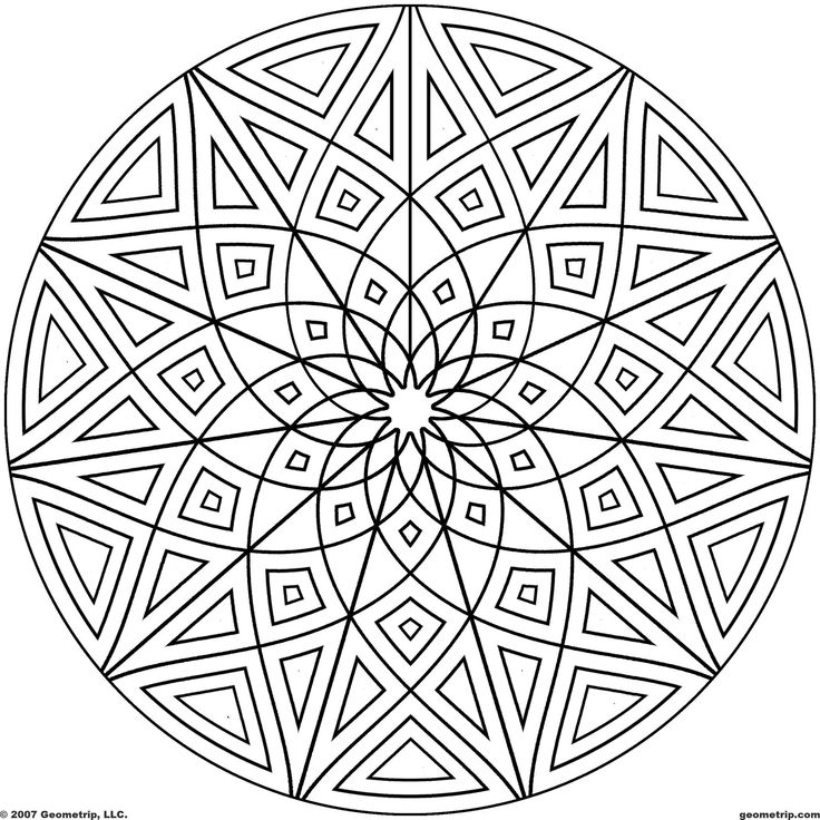Kaleidoscope Coloring Pages | Geometrip.com - Free Geometric Coloring Designs - Circles