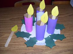 how to make candles from toliet paper tubes | ... each wreath you need five toilet paper tubes. Paint three purple, one
