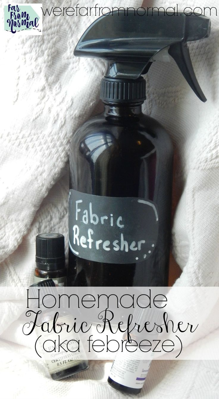 Essential oils make this fabric refresher super effective and it smells fantastic! No yucky chemicals- just a great smelling home!