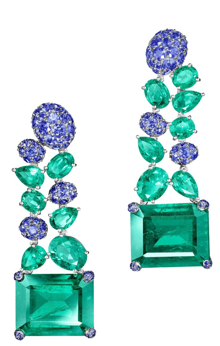 NEW de GRISOGONO High Jewellery Earrings in White Gold with Emeralds & Blue Sapphires.