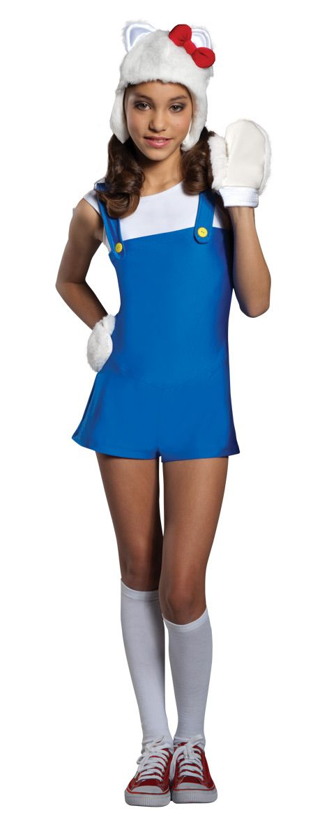 Hello Kitty Cute Anime Halloween Costume - Calgary, Alberta. This cute costume is great for teens, ladies and go great for Halloween and anime coventions.   Be the cutest kitty around this Halloween in this oficially liscensed Hello Kitty costume.   This costume is a one piece romper made from a stretchy spandex-like fabric and a zipper in the back. The white shirt is attached to the riompoer, and the cute little suspenders are held to the costume with yellow buttons.
