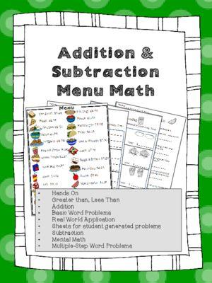 Menu Math Addition Amp Subtraction Money Real World