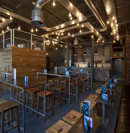 Awesome combination of metal, wood, lighting, etc. --- industrial cafe with blue accent