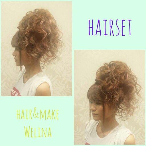 ふわふわのサイドカールアップ❤ #盛り髪 #サイド #カールアップ #ヘアメ #祭り #アップ #お団子 #抱き合わせ #夜会巻き #ヘアセット#hairset #updo #braids #編み込み #裏編み込み #お祭りヘアセット#Welina #hitomiyanagida #myworks