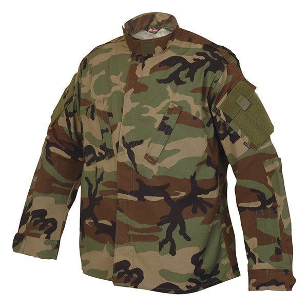 Tru-Spec Tactical Response Uniform Long-sleeve Shirt 50/50 Nylon Cotton Ripstop Woodland X-Small Regular