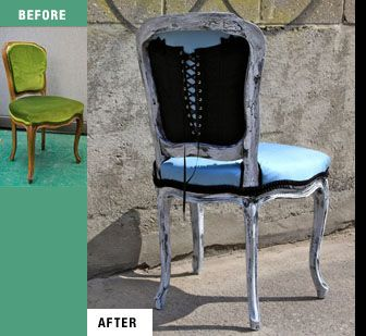 My entry for the 2010 Chair Affair-a fundraiser supporting Furniture Bank. I reupholstered the chair in blue silk with black velvet trim and with a vintage corset on the back of the chair.
