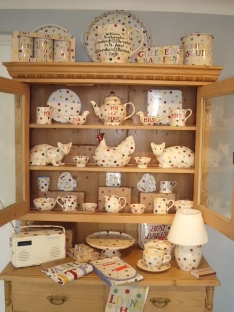 Our 2nd dresser all Emma Bridgewater Emma Bridgewater polka oot,not finished yet but looking good.Spots spots spots. Check out the lying down cats,aren't they gorgeous. All for sale online or in the shop.
