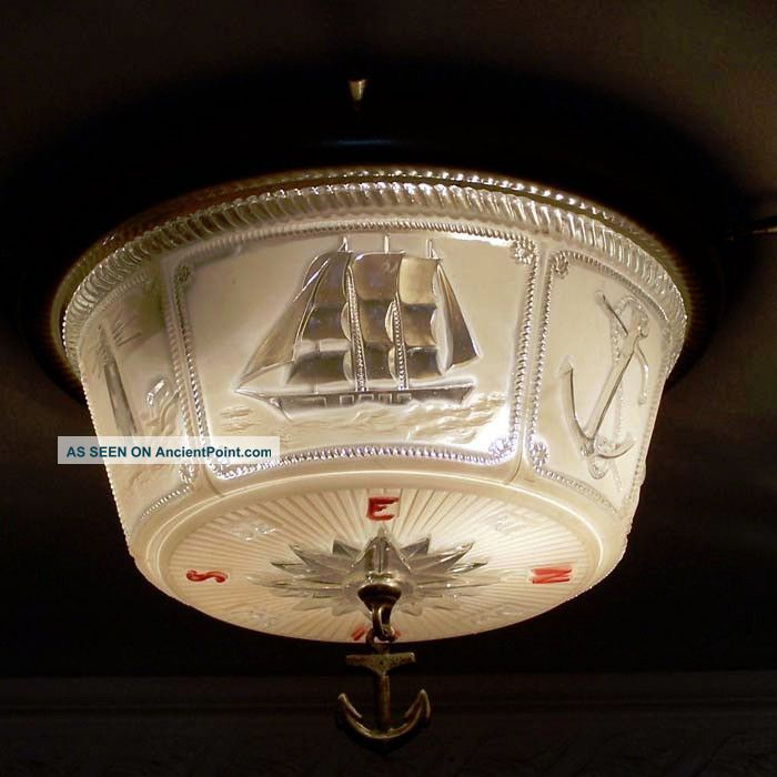 Lightolier old vintage ceiling lamp light fixture maritime nautical photos and information in ancientpoint