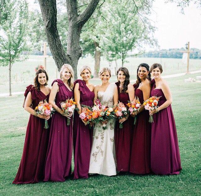 Cabernet colored bridesmaid dresses