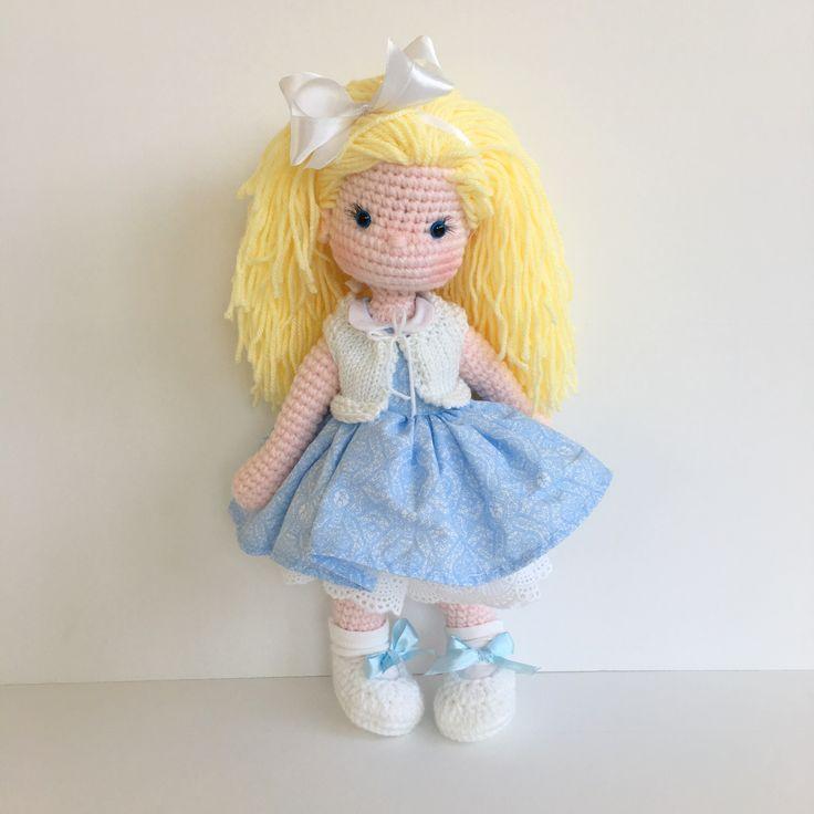 Crochet Amigurumi doll in light blue Nathaliesweetstitches