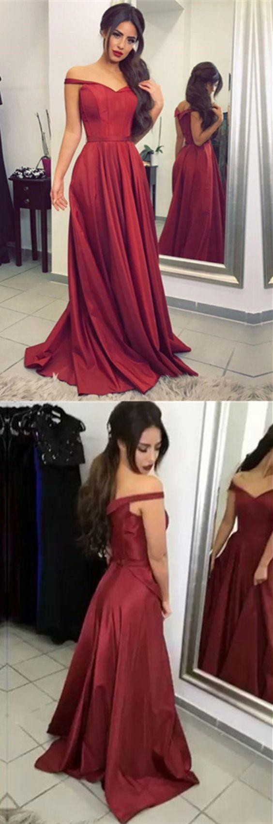 elegant off shoulder prom party dresses , burgundy formal gowns for prom party.