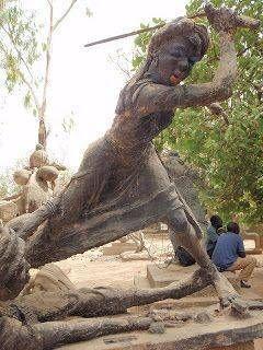 Public sculpture of the warrior Queen Amina in Nigeria