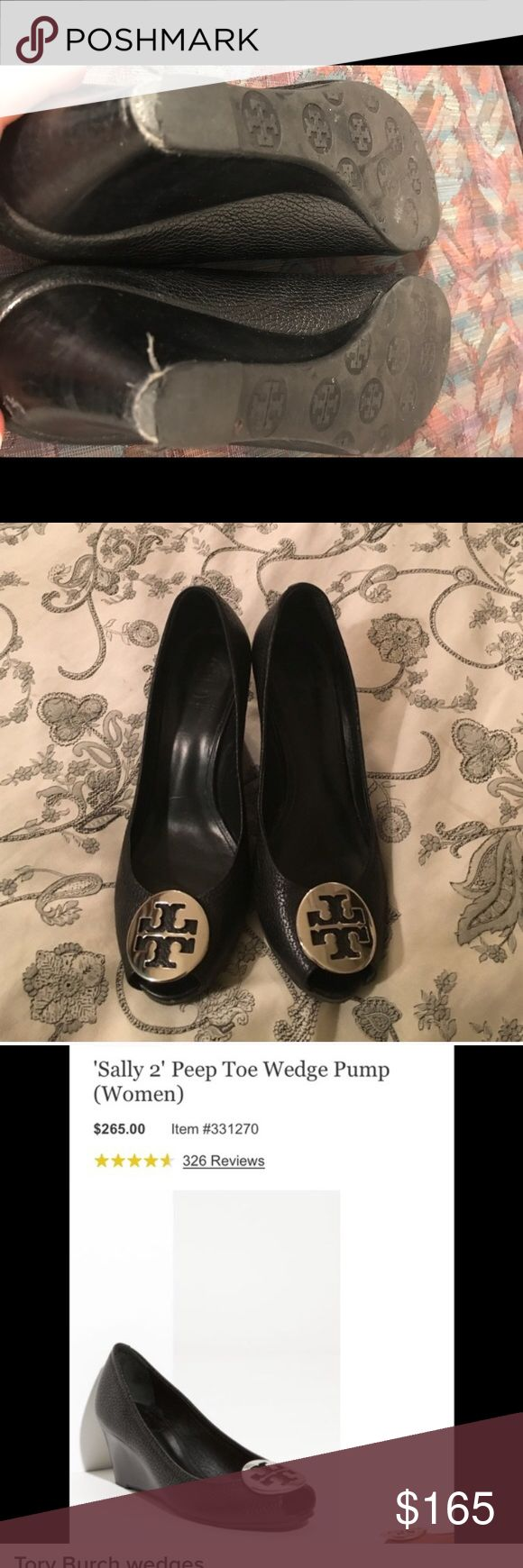Tory Burch Sally Black Peep Toe Wedges Iconic and class authentic Tory burch wedges. These are an absolute staple in any business wardrobe. The add style and elegance to any professional or dressy outfit! So comfortable and super easy to walk in. Only selling because I need a different size. Wear on heel tip and toes as pictured, but not at all noticeable during wear- just pictured for full disclosure. Good condition! Make an offer! Tory Burch Shoes Wedges