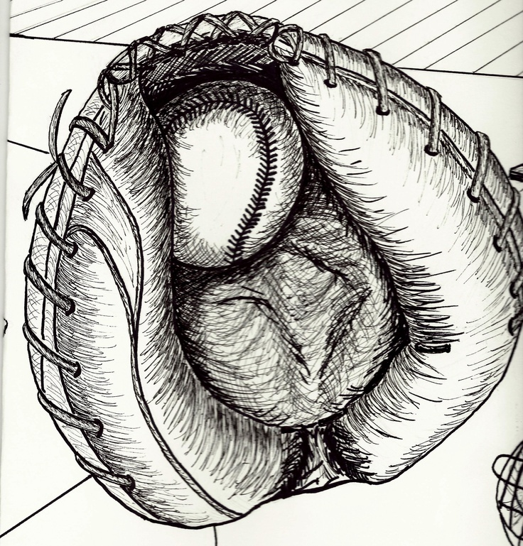 My drawing of a catcher's baseball glove done for 2D Foundations class March 2011  with drawing markers.  Artist:  LSBUSCH