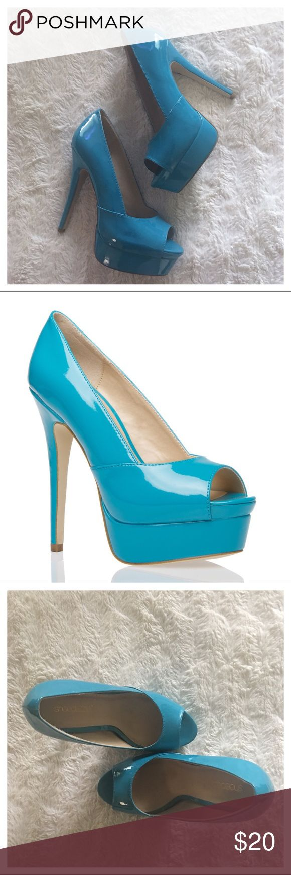 Shoe Dazzle Shakirah Heels - Turquoise Shoe Dazzle Shakirah Heels - Turquoise  Hips don't lie, and with her glossy eye-catching exterior neither does this towering peep-toe.   - Preowned Condition.  Worn a handful of times - good condition. - Heel Height : COMING ASAP  No TRADES. Please use offer button to negotiate. Thanks! Shoe Dazzle Shoes Heels
