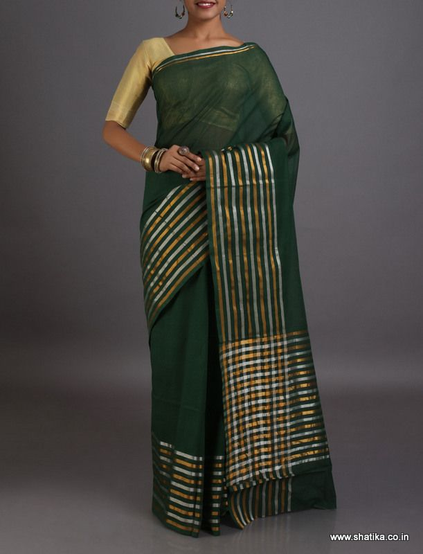 Aarti Plain with Gold and Silver Stripes #VenkatgiriCottonSaree