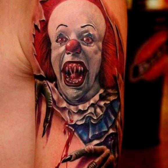 33 best clown tattoos images on pinterest clown tattoo evil clowns and joker tattoos. Black Bedroom Furniture Sets. Home Design Ideas