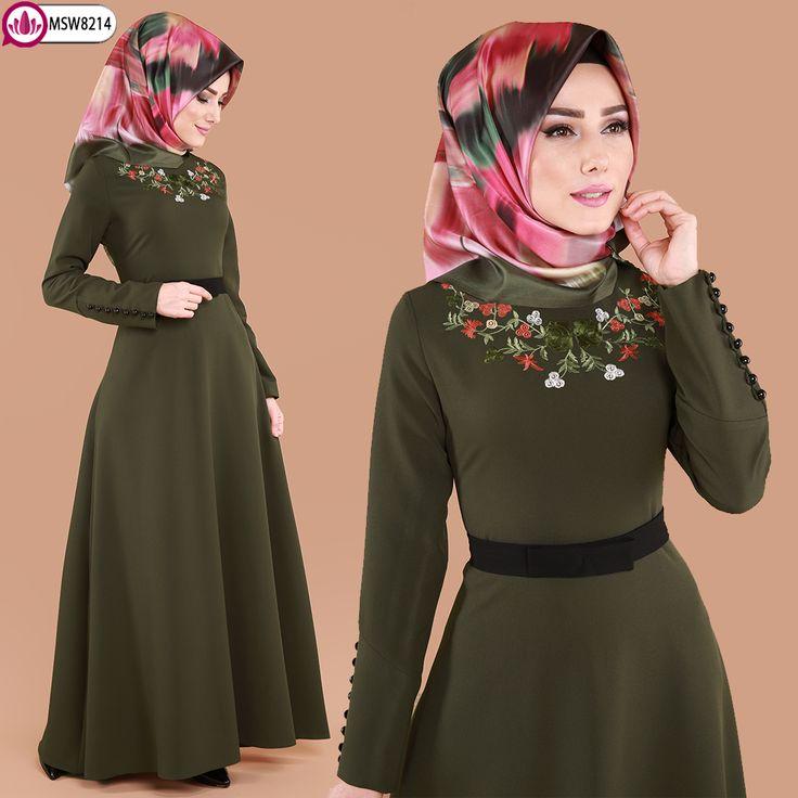 ** YENİ ÜRÜN ** Nakışlı Tesettür Elbise  Haki Ürün kodu: MSW8214--> 89.90 TL