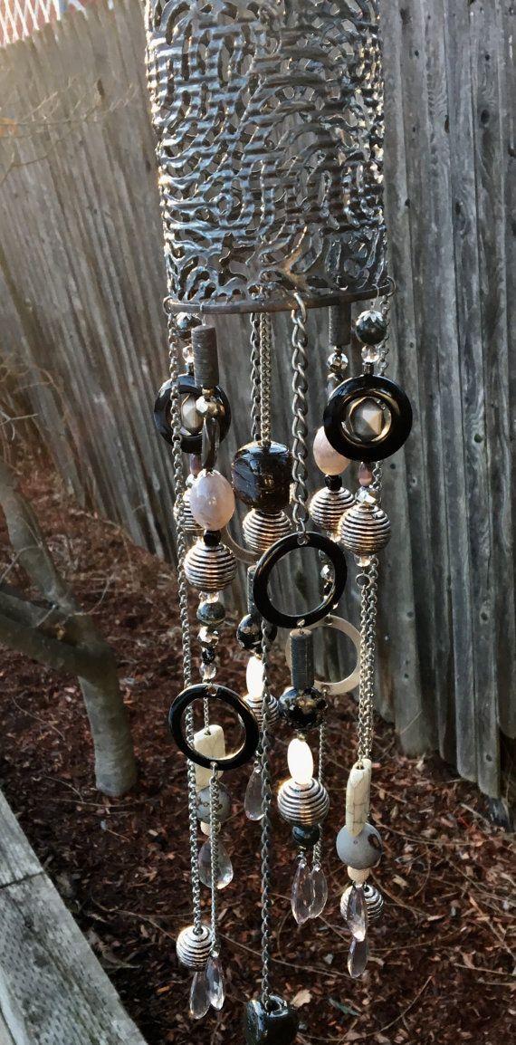 Metallic Beaded Mobile Windchimes Hanging Garden Art by mscenna
