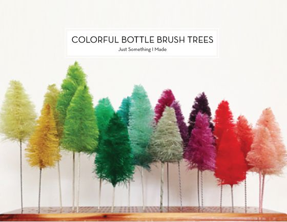 diy holiday decor - Bottle Brush Christmas Trees