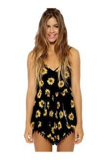 Black Playsuit with Sunflower Print - US$12.95