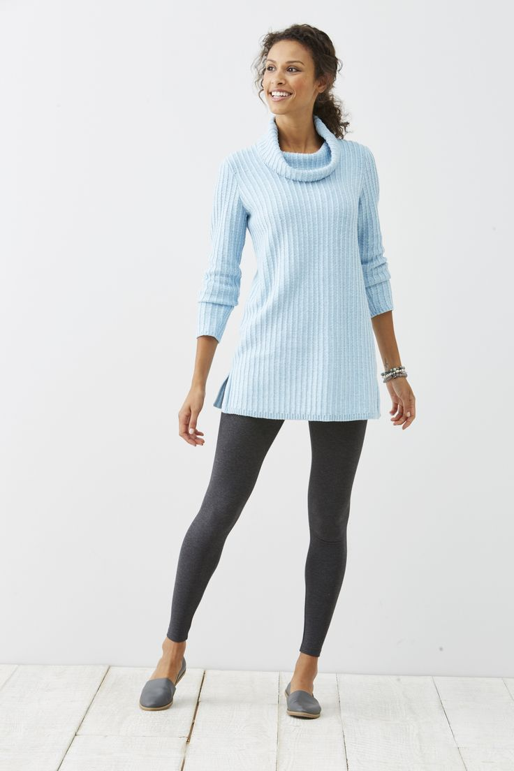 Easy cowl-neck tunic sweater (in blue sky heather). | Winter Style ...