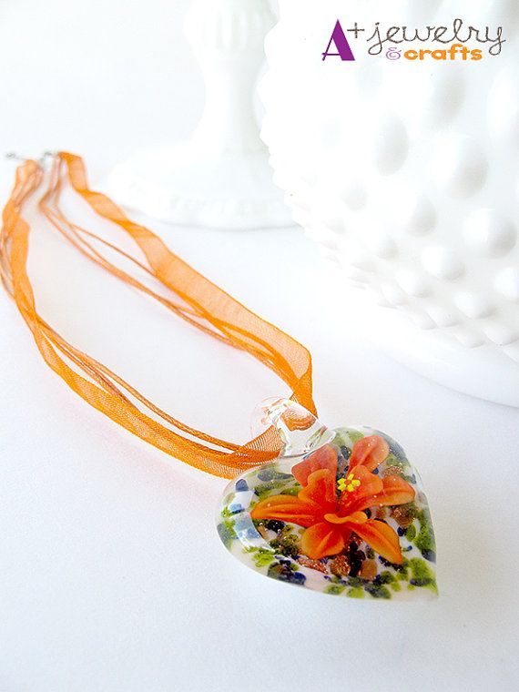 Orange necklace heart glass beads orange and by APlusJewelryCrafts