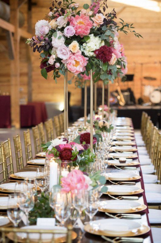 Tall wedding centerpiece idea - pink floral + greenery centerpieces {Pearl Events Austin}